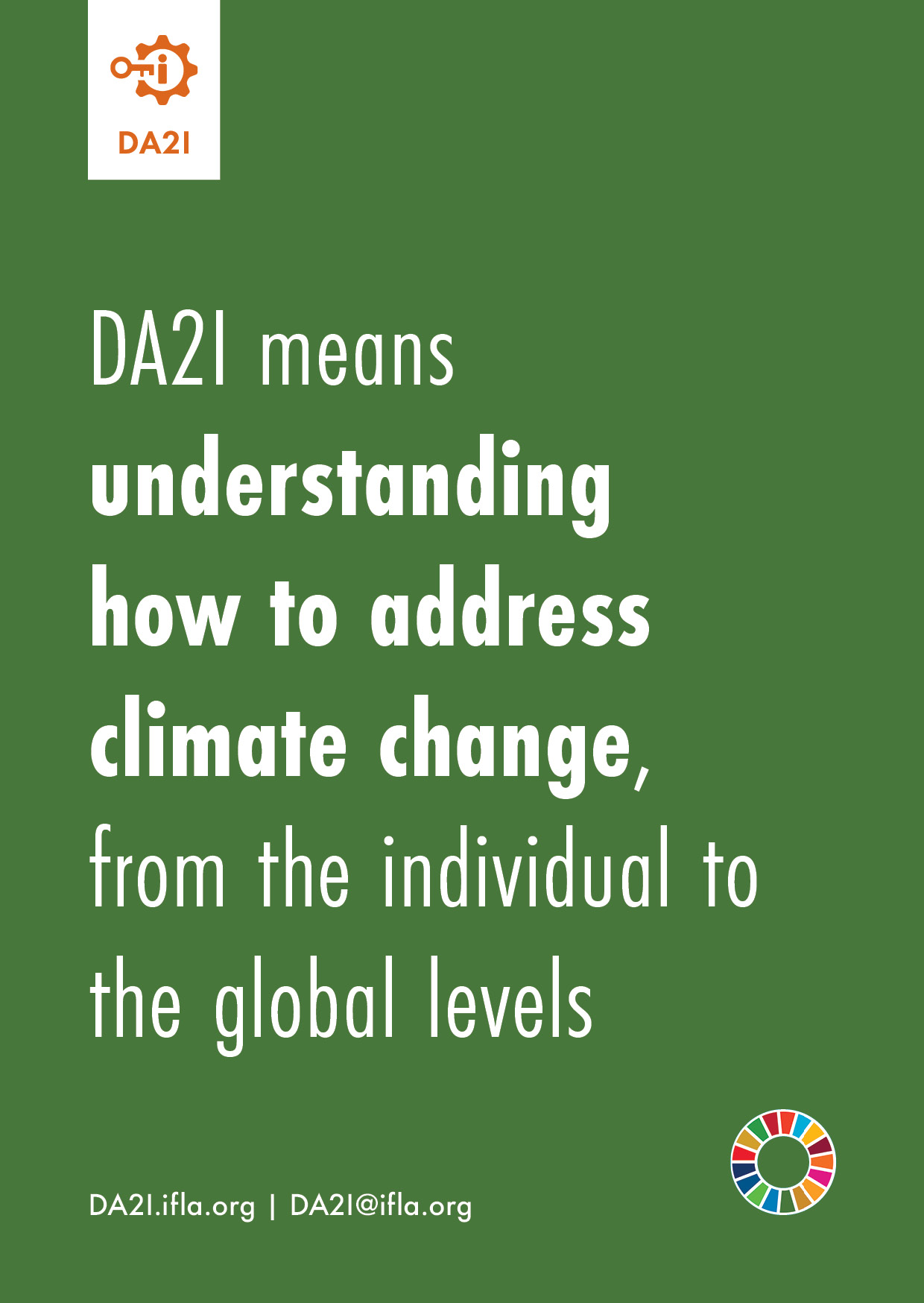 DA2I means understanding how to address climate change, from the individual to the global levels