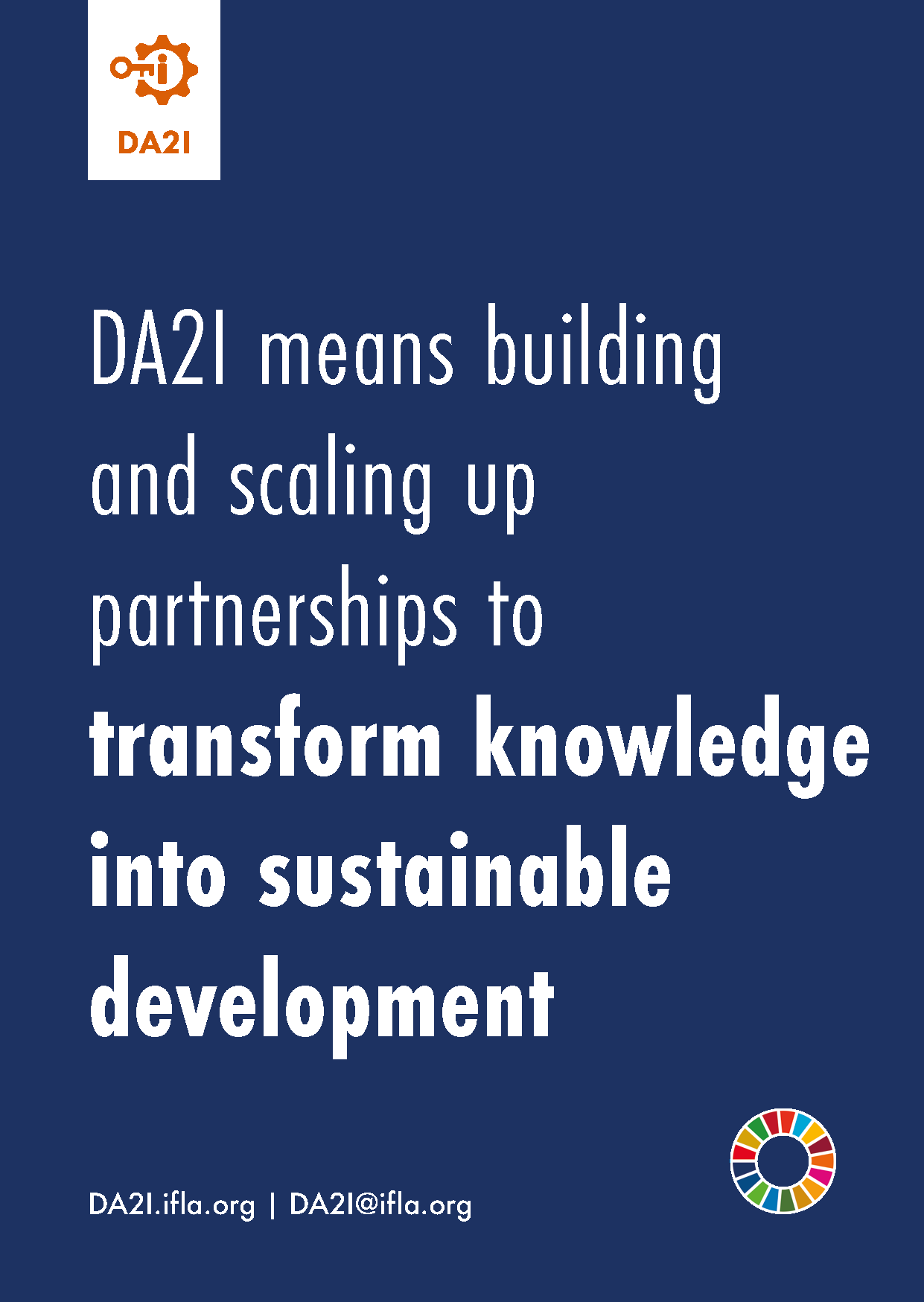 DA2I means building and scaling up partnerships to transform knowledge into sustainable development